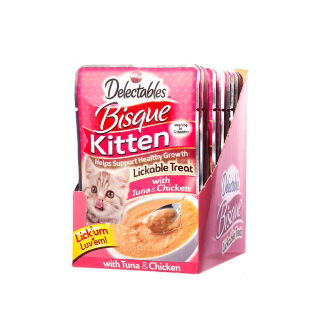 Delectables lickable treat bisque tuna and chicken for kittens. Front of opened carton. Hartz delectables lickable treats are the first wet cat treat.