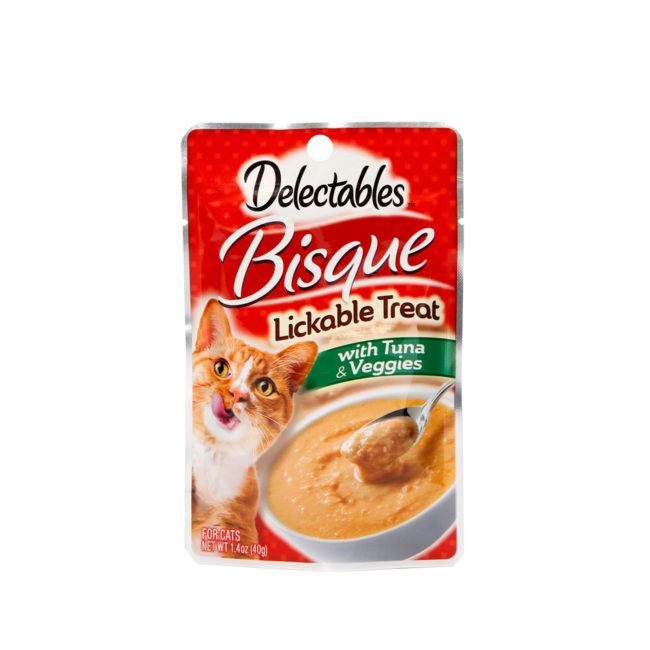 Front of Hartz Delectables Lickable Treat Bisque with Tuna and Veggies. Delectables Lickable Treat is the first lickable wet cat treat.