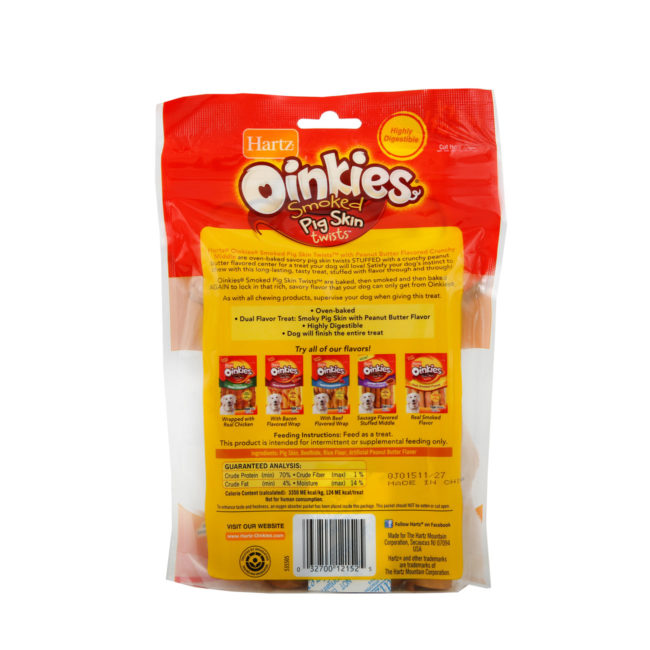 Hartz Oinkies smoked pig skin twists with peanut butter flavor. Back of package. Hartz SKU# 23270012152