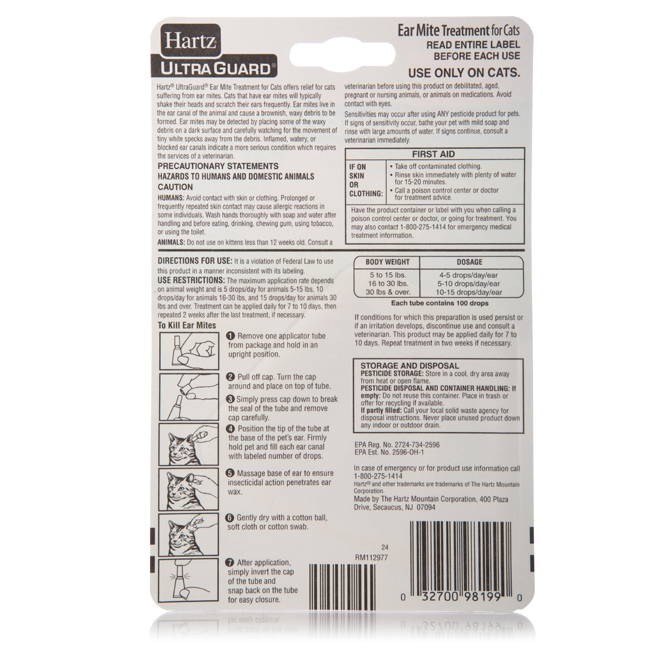 Hartz Ultraguard ear mite treatment for cats. Back of package with instructions for use.