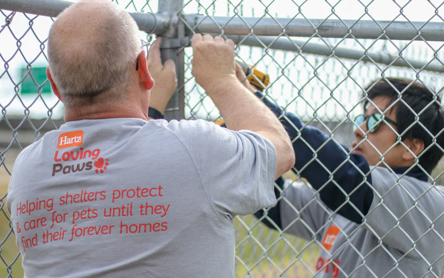Employee volunteers from Hartz Mountain working with Rescue Rebuild on a shelter restoration project.