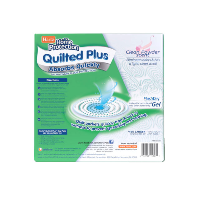 Hartz Home Protection Quilted Plus XL dog pads. Back of 30 count package. Hartz SKU# 3270015807