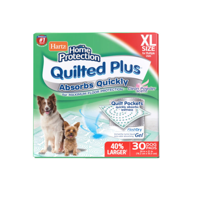 Hartz Home Protection Quilted Plus XL dog pads. Front of 30 count package. Hartz SKU# 3270015807