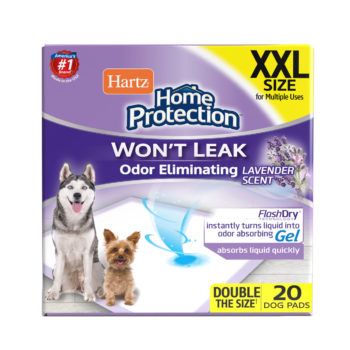 Hartz Home Protection Odor Eliminating Dog Pads. Front of XL 20 count package. Hartz SKU# 3270015479