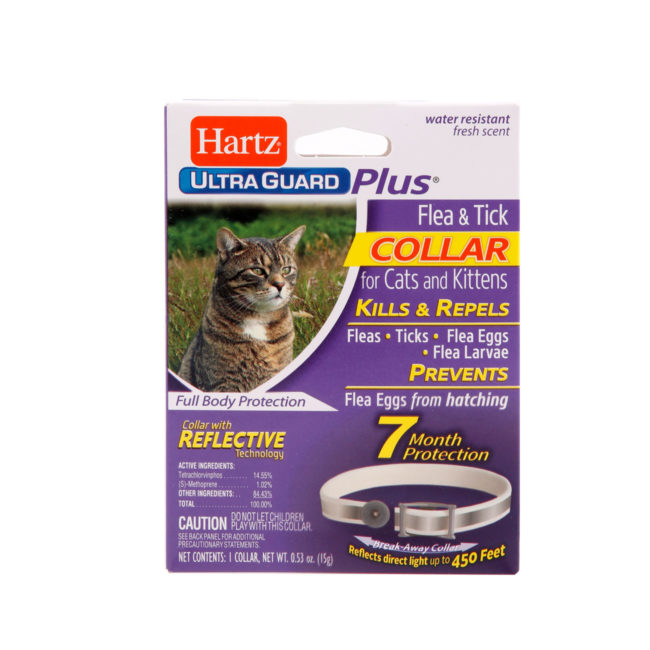 A flea and tick collar with reflective tech for cats, Hartz SKU 3270004181