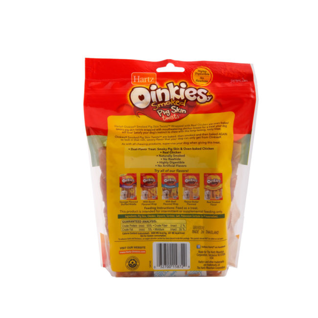 Hartz Oinkies pig skin twists are naturally smoked pig skin dog treat with chicken