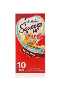 Delectables SqueezUp Variety Pack is the first gourmet wet cat treat where feeding is interactive. Front of package picturing a cat eating from a squeezeup tube being held by a hand.