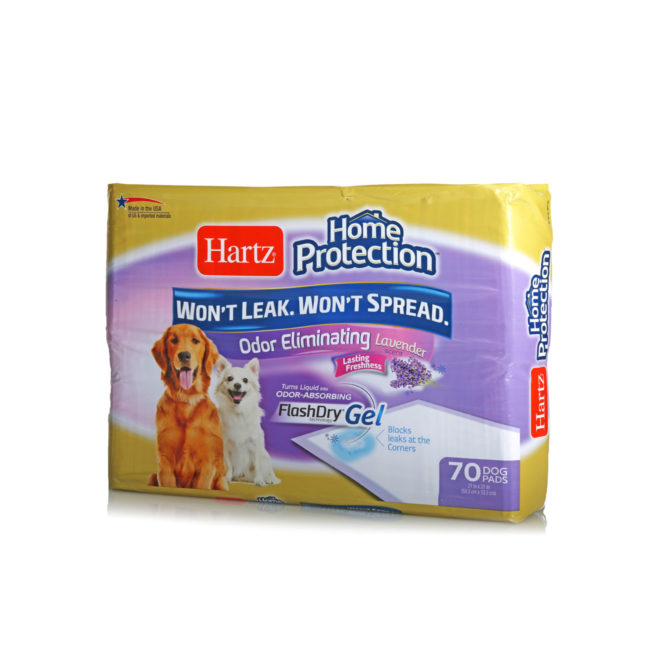 Angled fron of Hartz Home Protection Odor Eliminating Dog Pads 70 Count package. There are two dogs and a dog pad on the front of the package.