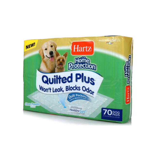 Hartz Home Protection Quilted Plus 70 count dog pads angled front of package. The package has a picture of two dogs and a dog pad.