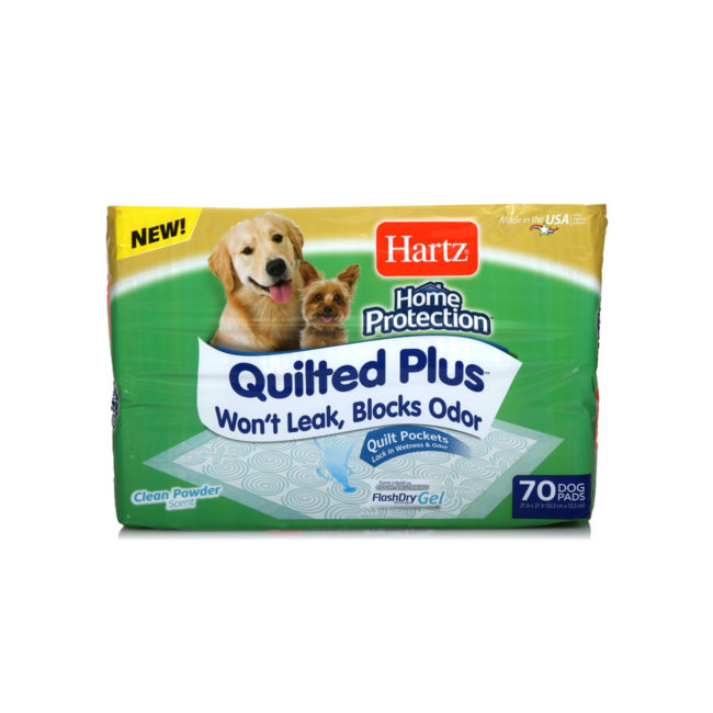 Hartz Home Protection Quilted Plus 70 count dog pads front of package. The package has a picture of two dogs and a dog pad.