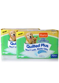 Contents of 140 count Hartz Home Protection Quilted Plus Odor Eliminating Dog Pads. Two 70 count dog pad packages.