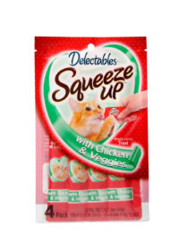Delectables SqueezUp chicken and veggies is the first gourmet wet cat treat where feeding is interactive. Front of package picturing a cat eating from a squeezeup tube being held by a hand.