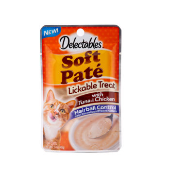 Hartz delectables lickable treat pate with tuna and chicken. Front of package has an image of a cat and a bowl of lickable treat pate.