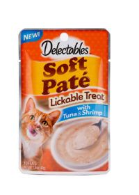 Hartz delectables lickable treat pate with tuna and shrimp. Front of package has an image of a cat and a bowl of lickable treat pate.