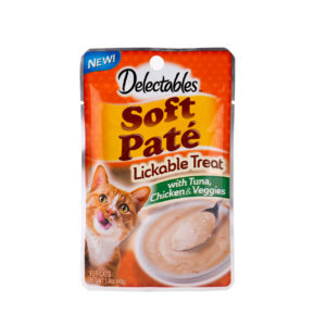 Hartz delectables lickable treat pate with tuna, chicken and veggies. Front of package has an image of a cat and a bowl of lickable treat pate.