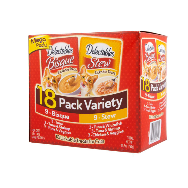Hartz Delectables™ Lickable Treat 18 pack Variety pack. Angled front of package. The package has a picture of the Hartz Delectables lickable treat stew and bisque packages.
