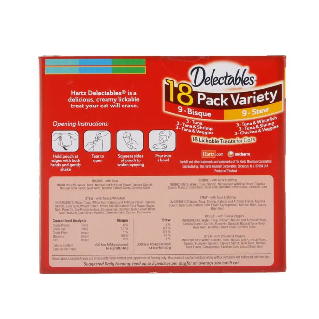 Hartz Delectables™ Lickable Treat 18 pack Variety pack. Back of package. The package has a picture of the Hartz Delectables lickable treat stew and bisque wet cat treat ingredients.