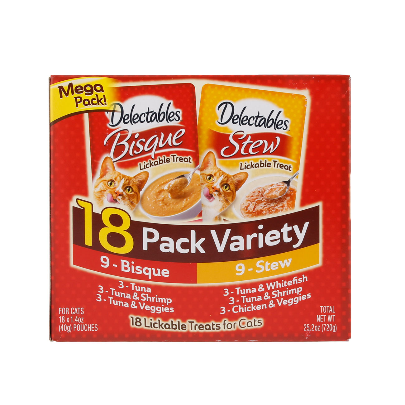Hartz Delectables™ Lickable Treat 18 pack Variety pack. Front of package. The package has a picture of the Hartz Delectables lickable treat stew and bisque packages.