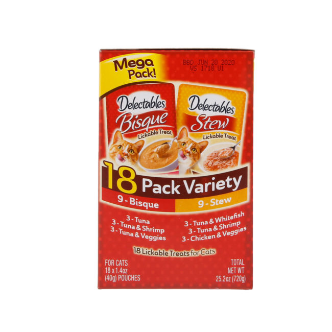 Hartz Delectables™ Lickable Treat 18 pack Variety pack. Side of package. The package has a picture of the Hartz Delectables lickable treat stew and bisque packages.