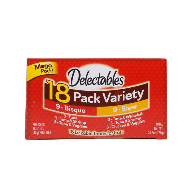 Hartz Delectables™ Lickable Treat 18 pack Variety pack. Top of package. Hartz Delectables lickable treat. The first wet cat treat.