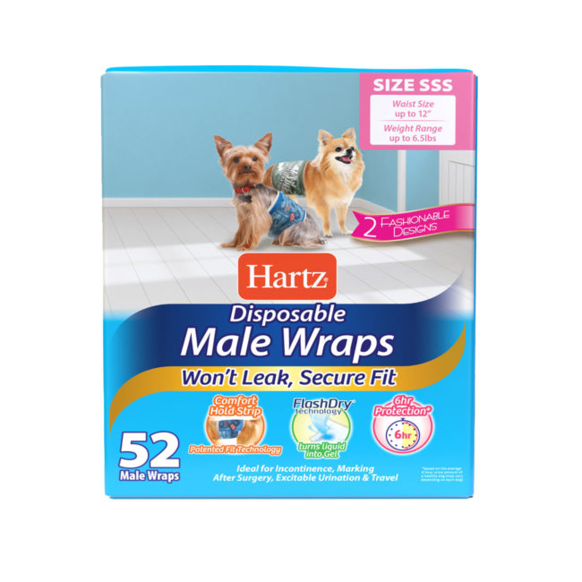 Hartz disposable male wraps. Front of package. Avoid unwanted accidents with Hartz male wraps and Hartz dog diapers.
