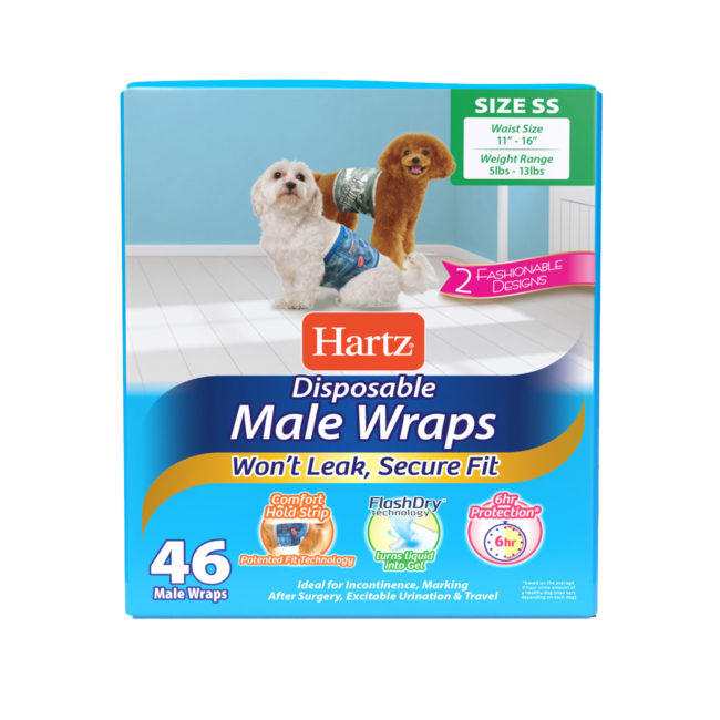 Hartz disposable male wraps. 46 count. Front of package. Avoid unwanted accidents with Hartz disposable male wraps and Hartz disposable dog diapers.