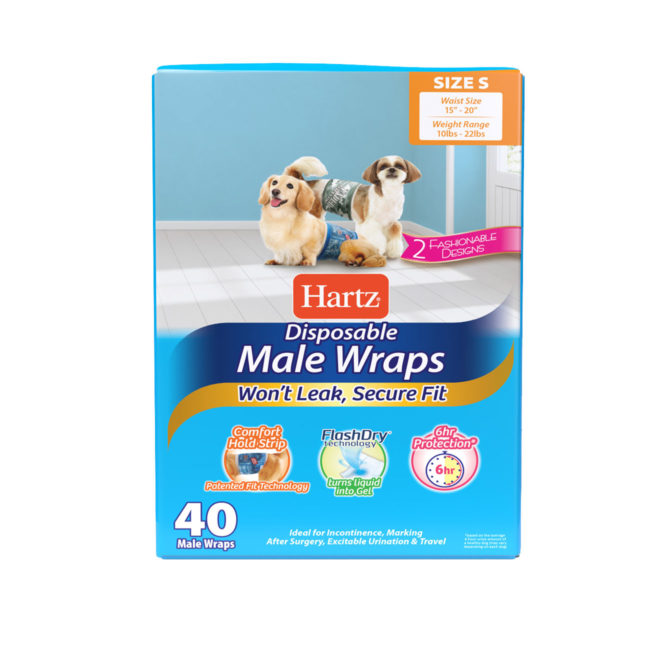Hartz disposable male wraps. Front of package. Avoid unwanted accidents with Hartz male wraps and Hartz disposable dog diapers.