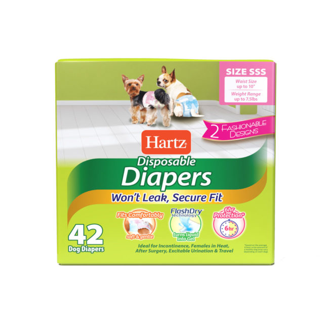 3270011244. Hartz disposable diapers. Front of package. Avoid unpleasant messes with Hartz disposable diapers and Hartz disposable male wraps.