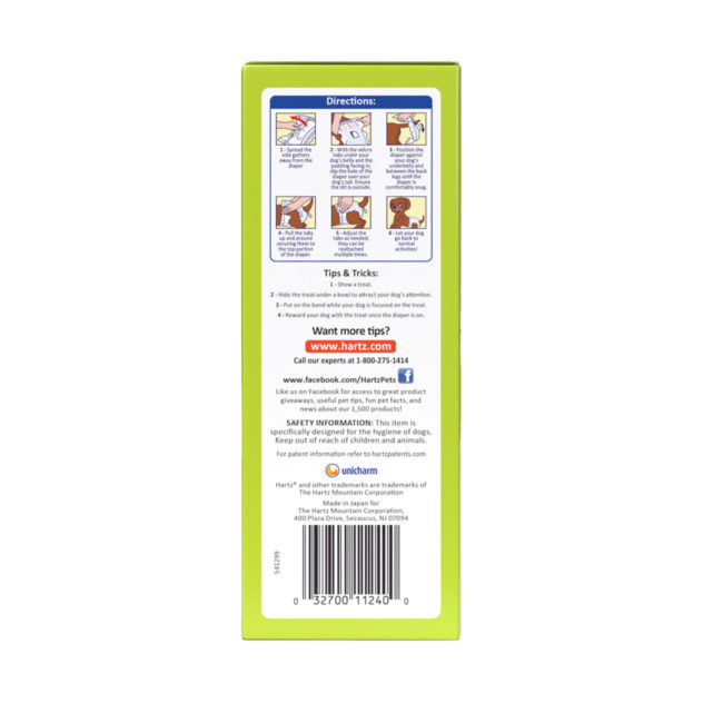 3270011240. Hartz disposable diapers. Left side of package. Avoid unpleasant messes with Hartz disposable diapers and Hartz disposable male wraps for dogs.