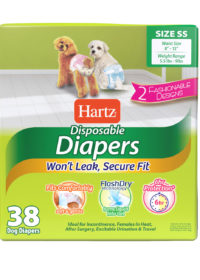 3270011241. Hartz disposable diapers. Front of package. Avoid unpleasant accidents with Hartz disposable diapers. Extra small dog diapers.