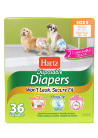 3270011242. Hartz disposable diapers. Front of package. Avoid unpleasant messes with Hartz disposable diapers. Small dog diapers.
