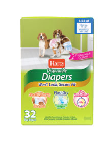 3270011243. Hartz disposable diapers. Front of package. Avoid unpleasant messes with Hartz disposable diapers. Medium diapers for dogs.
