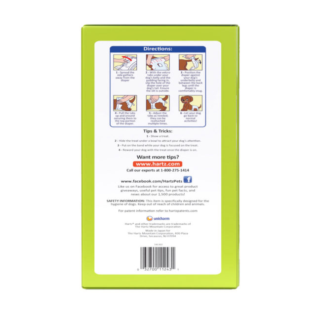 3270011243. Hartz disposable diapers. Left side of package. Help your dog regain their independence with Hartz disposable diapers.