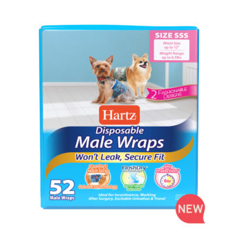 Hartz SKU#3270011245. Hartz disposable male wraps. Front of package. Avoid unwanted accidents with Hartz male wraps and Hartz dog diapers.