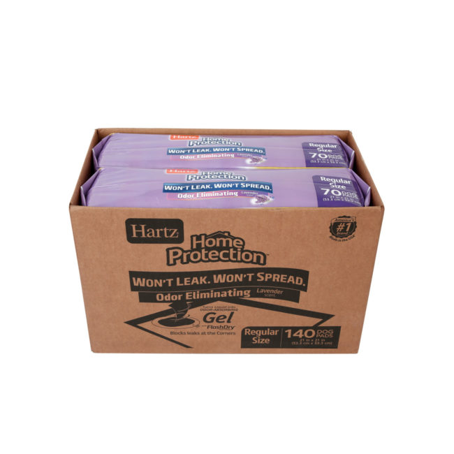 Hartz Home Protection Odor Eliminating Dog Pads 140_count top of package with a view of the contents. The front of the package has an illustration of a training pad for dogs. Hartz SKU# 032700157708.