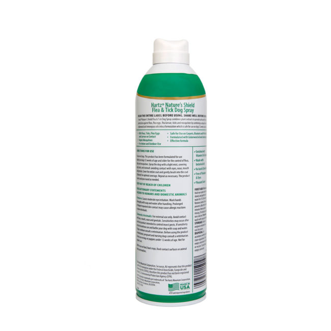 3270015910. Hartz Nature's Shield flea and tick dog spray. Left side of bottle. Hartz Nature's Shield is a natural flea and tick dog spray.