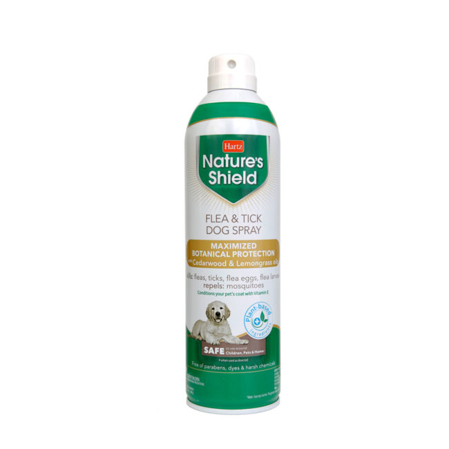 3270015910. Hartz Nature's Shield flea and tick dog spray. Front of bottle. Hartz Nature's Shield is a natural, plant based flea and tick protection.