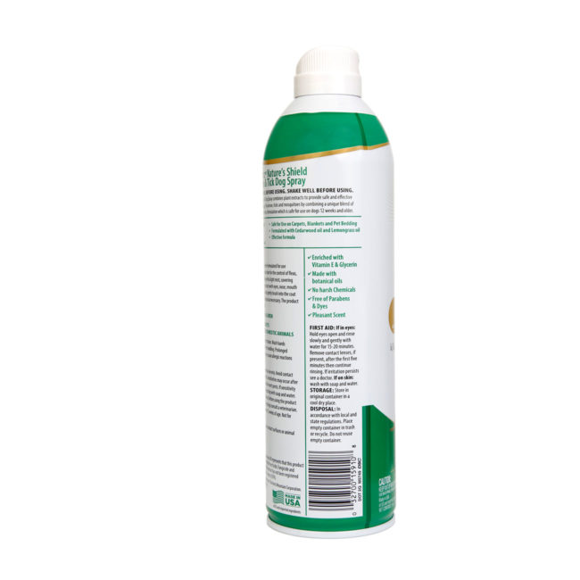 3270015910. Hartz Nature's Shield flea and tick dog spray. Right side of bottle. Hartz Nature's Shield is a natural flea and tick dog spray made from plant based ingredients.