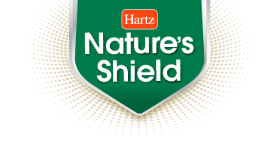 Hartz Nature's Shield. Logo. A blend of natural, essential oils that help prevent and control fleas and ticks.