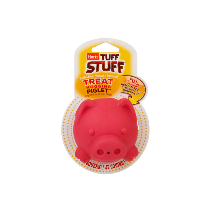 Hartz SKU#3270011228. Hartz tuff stuff treat hogging piglet. Front view of red dog toy interactive.