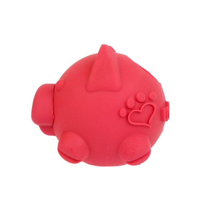 Hartz SKU#3270011228. Hartz tuff stuff treat hogging piglet. Side view of red interactive dog toy.
