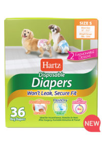 Hartz disposable diapers. Front of package. Avoid unpleasant messes with Hartz disposable diapers. Small dog diapers. Hartz SKU#3270011242.
