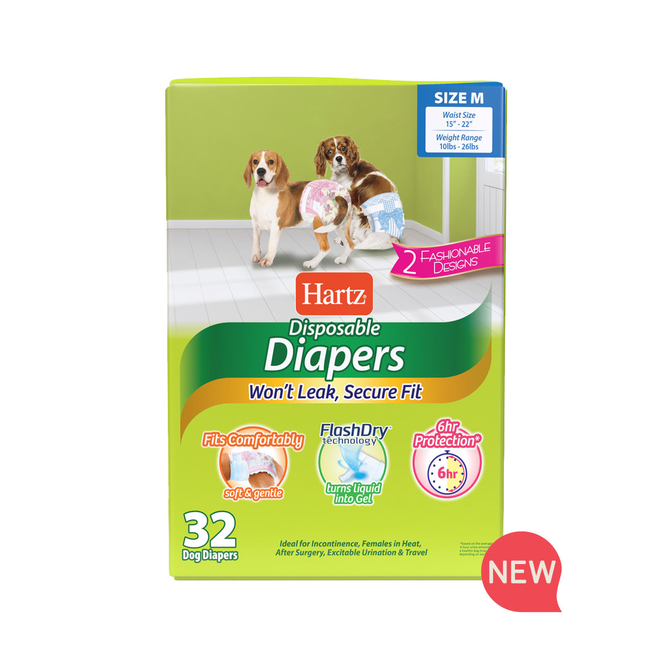 Hartz disposable diapers. Front of package. Avoid unpleasant messes with Hartz disposable diapers. Medium diapers for dogs. Hartz SKU#3270011243.