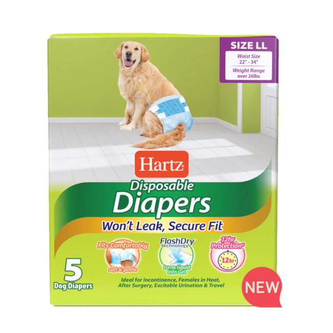 Hartz SKU#3270011244. Hartz disposable diapers. Front of package. Avoid unpleasant messes with Hartz disposable diapers and Hartz disposable male wraps.