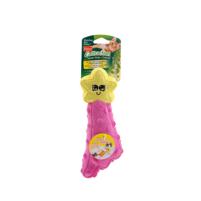 Hartz SKU#3270015905. Hartz Cattraction with silver vine and catnip shooting star kicker cat toy. Available in pink.