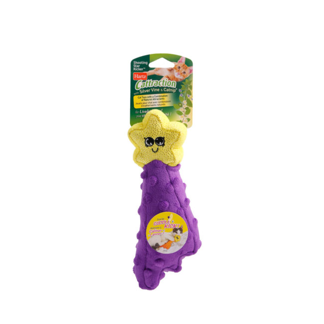 Hartz SKU#3270015905. Hartz Cattraction with silver vine and catnip shooting star kicker cat toy. Available in Purple.