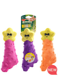 Hartz SKU#3270015905. Hartz Cattraction with silver vine and catnip shooting star kicker cat toy. Available in three colors. Pink, Purple and Orange.