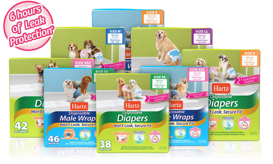 Hartz disposable dog diapers and disposable male wraps. Available in a variety of sizes from extra small to extra large.