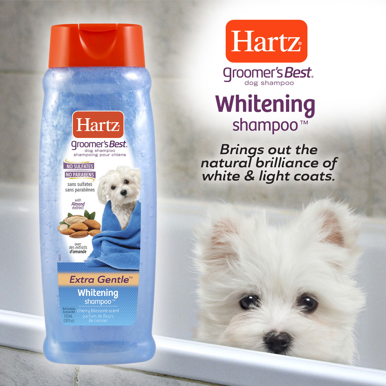 Hartz groomers best whitening shampoo. Brings out the natural brilliance in white and light coats.