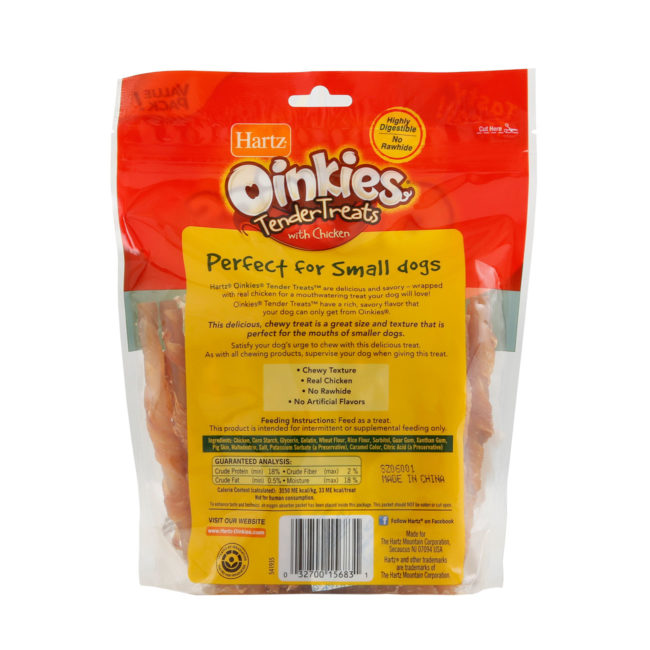 Back of package of 36 pack oinkies tender treats, wrapped with real chicken, Hartz SKU 3270015683. Hartz dog treats with real chicken.